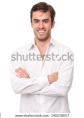 Portrait of a happy young man in white shirt isolated