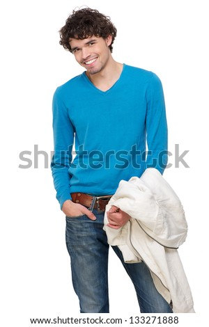 Portrait of a happy young man smiling - stock photo