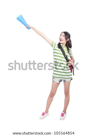 Portrait of a happy young student woman hand pointing to empty copy space isolated on white background, model is a asian girl - stock photo
