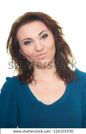 Portrait of a happy young woman in a blue shirt. Isolated on white background