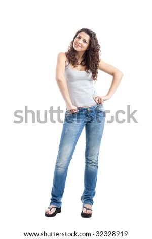 Portrait of a happy young woman isolated over white background - stock photo