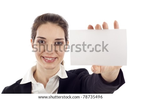 Portrait of a happy young woman showing a blank business card isolated over white background - stock photo