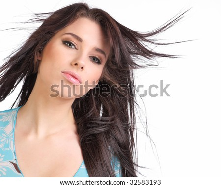 portrait of a happy young woman smiling .Long hair
