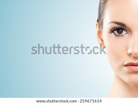 Portrait of a healthy, young and natural girl - stock photo