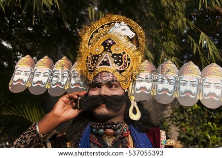Portrait of a Impressionist dressed as Raavan, Impressionist or Behrupiya is Traditional performing artist of India.
