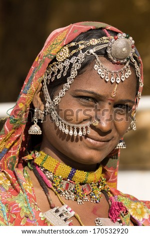 Portrait of a India Rajasthani woman close up - stock photo