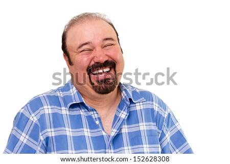Portrait of a joyful bearded Caucasian man laughing loud, isolated on white background - stock photo