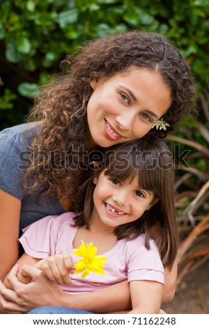 Portrait of a joyful mother with her daughter in the garden