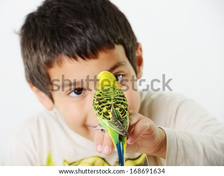 Portrait of a kid girl with her domestic parrot - stock photo