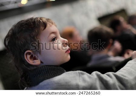 Portrait of a kid in the theatre - stock photo
