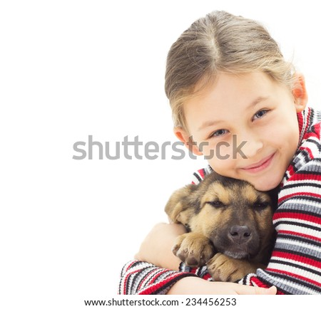 portrait of a kid with a puppy on a white background isolated