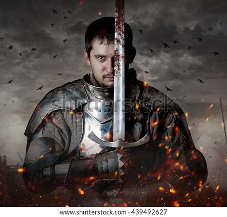 Portrait of a knight with sword on batllefield.
