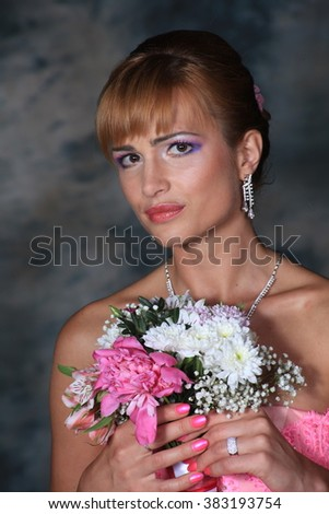 Portrait of a lady with flowers and decorations