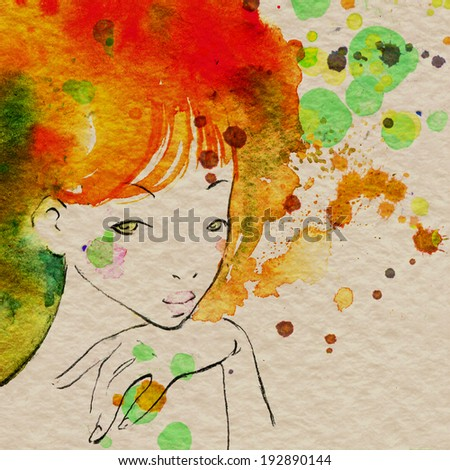Portrait of a lady with watercolor messy hair - stock photo