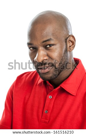 Portrait of a late 20s handsome black man isolated on white background
