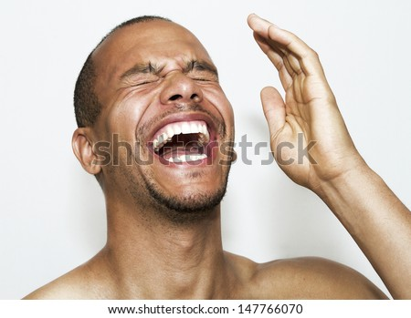 Portrait of a Laughing Man - stock photo