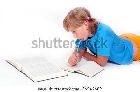 Portrait of a learning girl with opened books. - stock photo