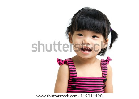 Portrait of a little Asian baby child girl isolated on white background - stock photo