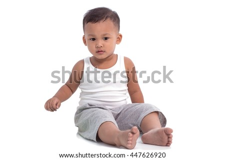 Portrait of a little Asian child boy on the white background