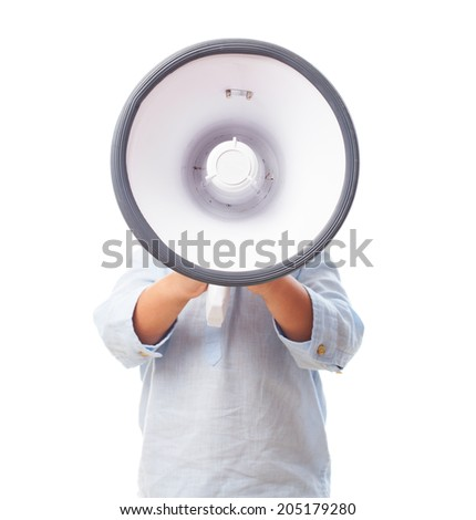 portrait of a little boy covering his face with a megaphone