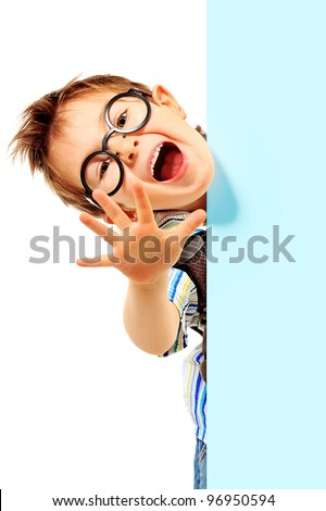 Portrait of a little boy in spectacles with white board. Isolated over white background. - stock photo