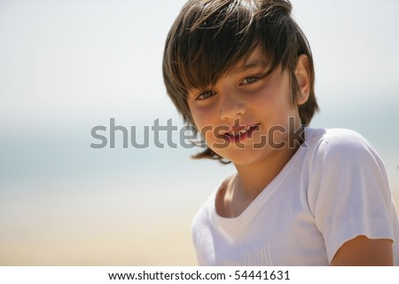 Portrait of a little boy smiling - stock photo
