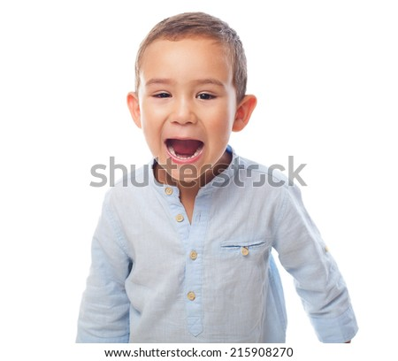 portrait of a little boy with shouting gesture