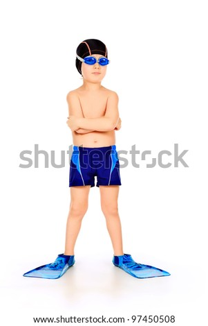 Portrait of a little boy with swimming accessories. Isolated over white. - stock photo