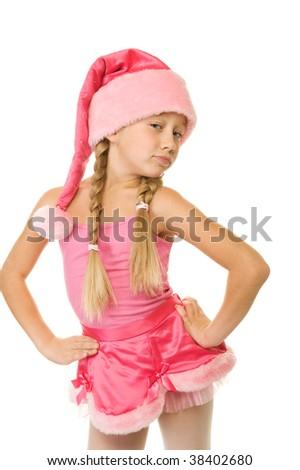 Portrait of a little christmas girl - stock photo