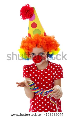 portrait of a little clown isolated on a white background