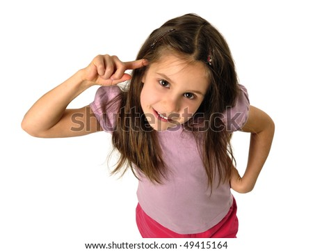 Portrait of a little emotional girl - stock photo