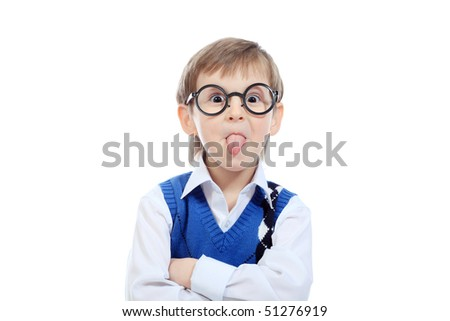 Portrait of a little funny boy in glasses. Isolated over white background. - stock photo
