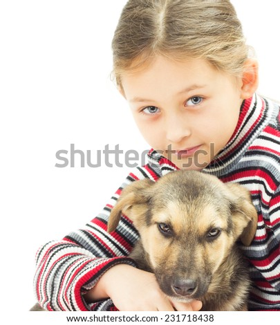 portrait of a little girl and a dog on a white background - stock photo