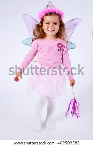 Portrait of a little girl dressed up as a Fairy.