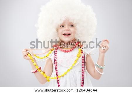 Portrait of a little girl fashionista - stock photo