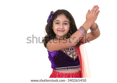 Portrait of a Little Girl in Indian Dance Pose, Isolated, White - stock photo