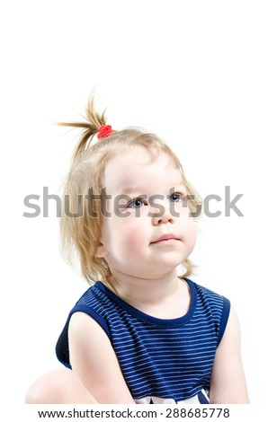 Portrait of a little girl on white background - stock photo