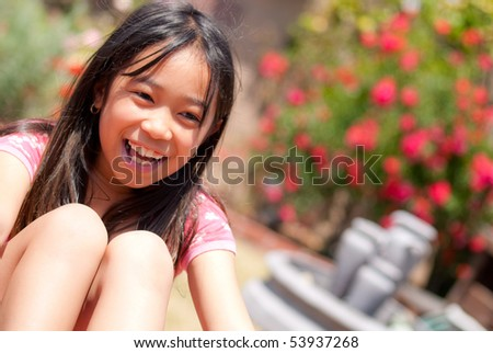 Portrait of a Little Girl Smiling - stock photo