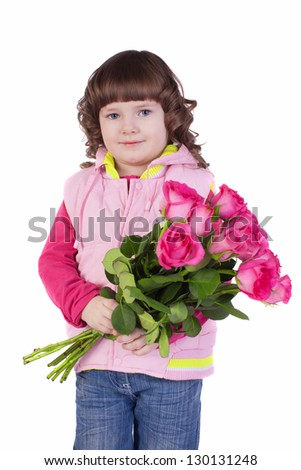 Portrait of a little girl with a bouquet of roses. White background, isolated