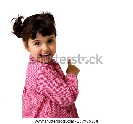 portrait of a little girl with a school dress isolated on white - stock photo