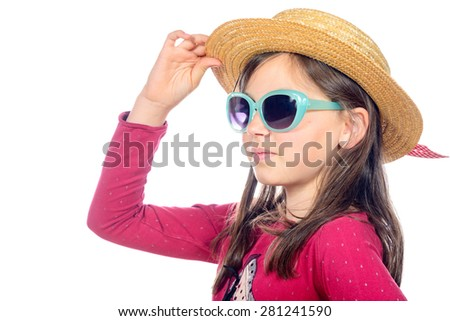 portrait of a little girl with sunglasses and hat on white