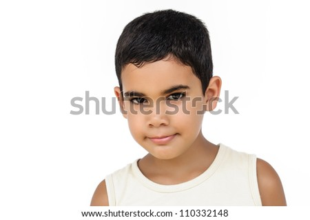 Portrait of a little hispanic boy isolated on white - stock photo