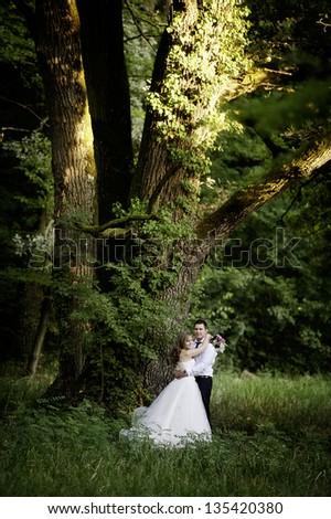 Portrait of a lovely bride and groom embracing outdoor in park looking happy, at their wedding