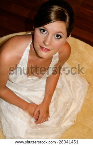 Portrait of a lovely bride on her wedding day.