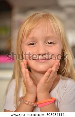 Portrait of a lovely little girl - stock photo