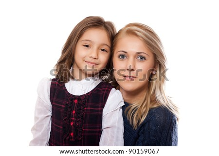 portrait of a lovely little girl and her mother, isolated on white background