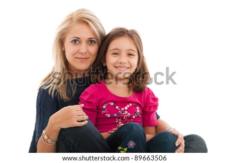 portrait of a lovely little girl with her mother, smiling, isolated on white background - stock photo