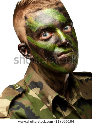 portrait of a mad soldier against a white background