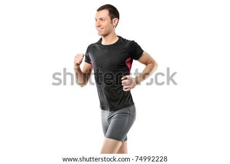 Portrait of a male athlete running isolated on white background