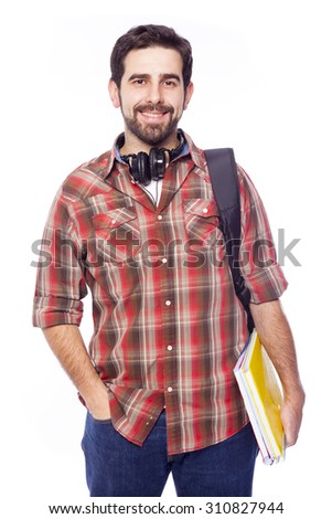 Portrait of a male smiling student on white background - stock photo